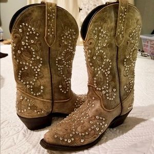 Shoes - Womens Studded Cowboy Boots